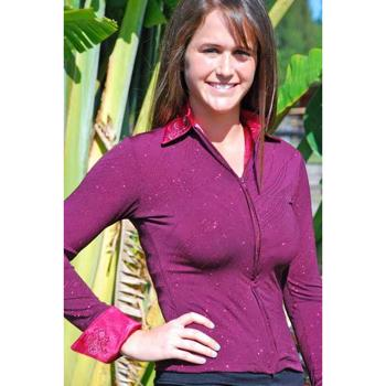 Ladies Western Show Shirt, Burgundy