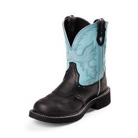 Justin Ladies Boots Black Turquoise Deer Cow