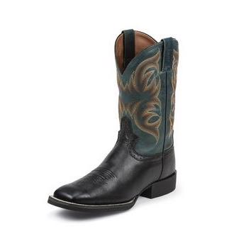 Justins MEN Boots Silver BLACK DEERTAN COW
