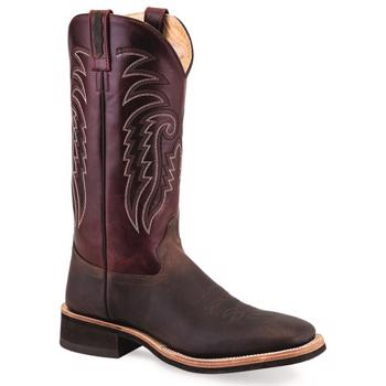 Old West Cowboy Broad Square Toe Boot - Bordeaux