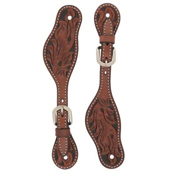Weaver Ladies Spur Strap - Carved Chestnut