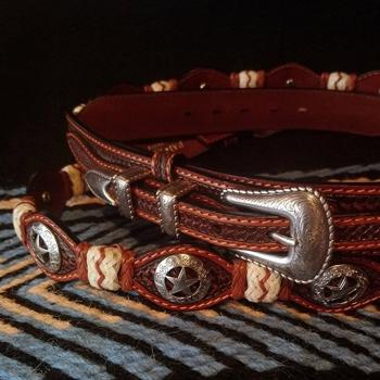 Leather belt with concho & rawhide