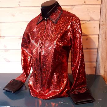 Ladies Western Show Shirt, Red Lizard