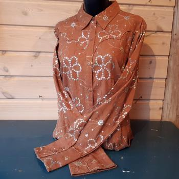 Roper Brown Ladies Shirt m bling LARGE